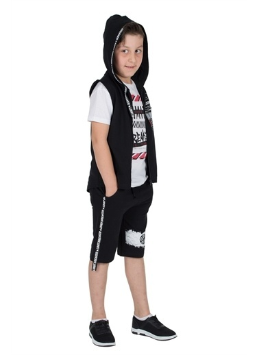 Silversun Kids Erkek Genç Baskılı Yazılı Şeritli Kapşonlu Yelek Yc 315881 Siyah